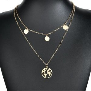 World Map Multilayer chain necklace in gold tone